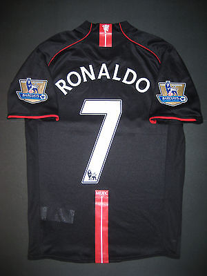 the latest 426b6 ce82b 2007/2008 Nike Manchester United Cristiano Ronaldo Jersey Shirt Kit Away  Black | eBay