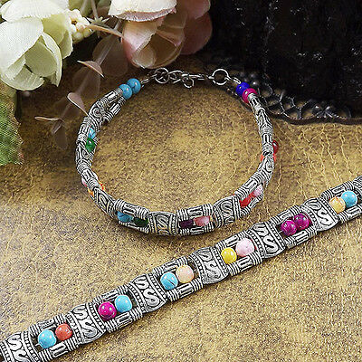 Free shipping New Tibet silver multicolor jade turquoise bead bracelet S03B