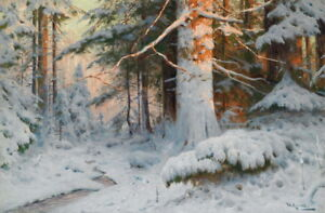 Art-Print-Sunny-Snow-Forest-Oil-painting-Giclee-Printed-on-canvas-P1190
