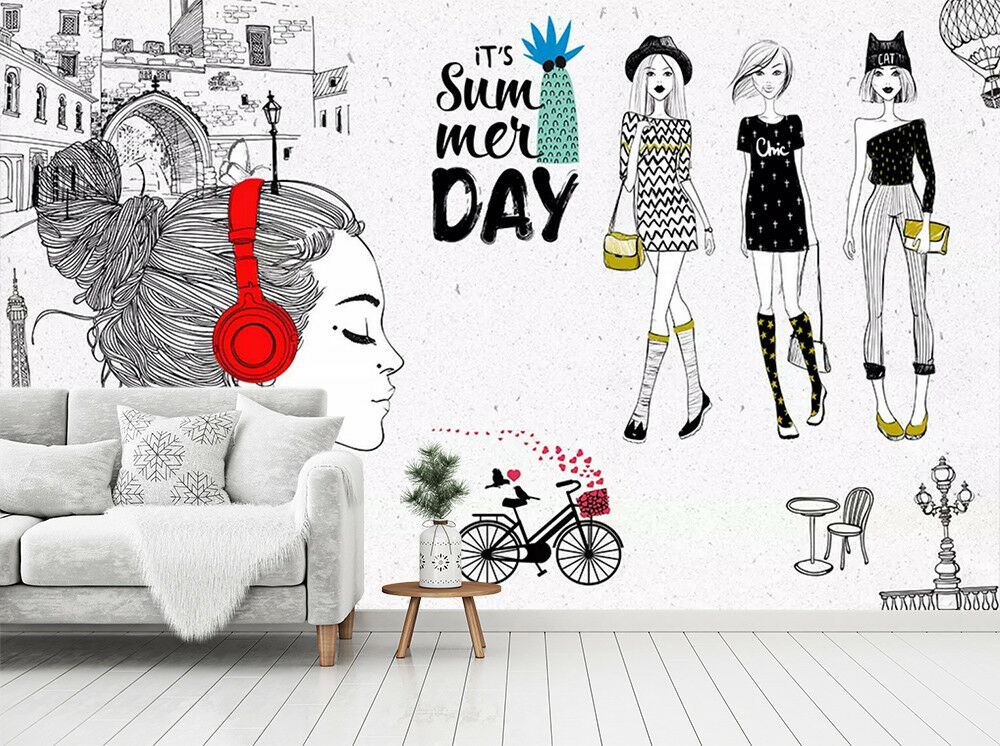 3D Headphone Woman 75 Wall Paper Exclusive MXY Wallpaper Mural Decal Indoor Wall