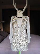 Tiny Anthropologie Womens Sequin Velvet Tan Viscose/Slik/Cotton Blouse S. L NWT