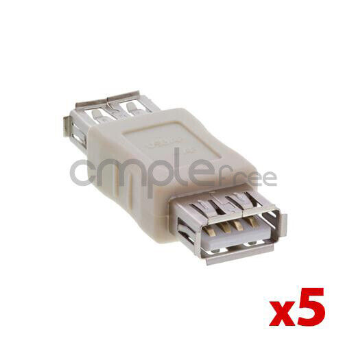 5x USB 2.0 Type A Female to Female Adapter Coupler Gender Changer Connector NEW