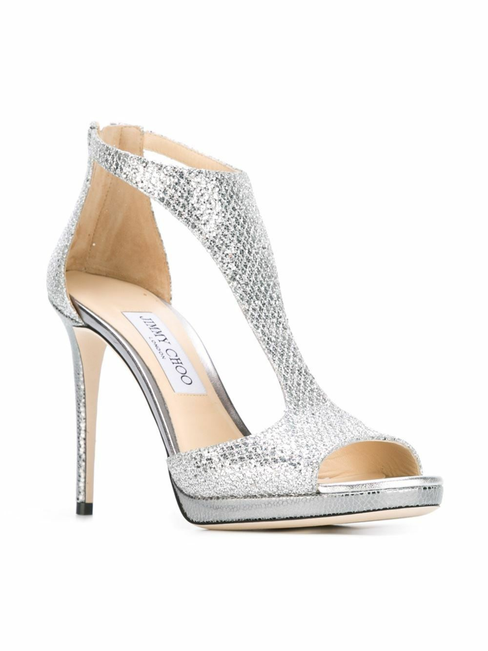 Jimmy Choo Lana 100 Silver Glitter Fabric T-Bar Sandals shoes Size 38  850