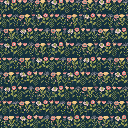 Quilt Floral Daisy Mae Fresh Cuts Navy DM20108 by Poppie Cotton