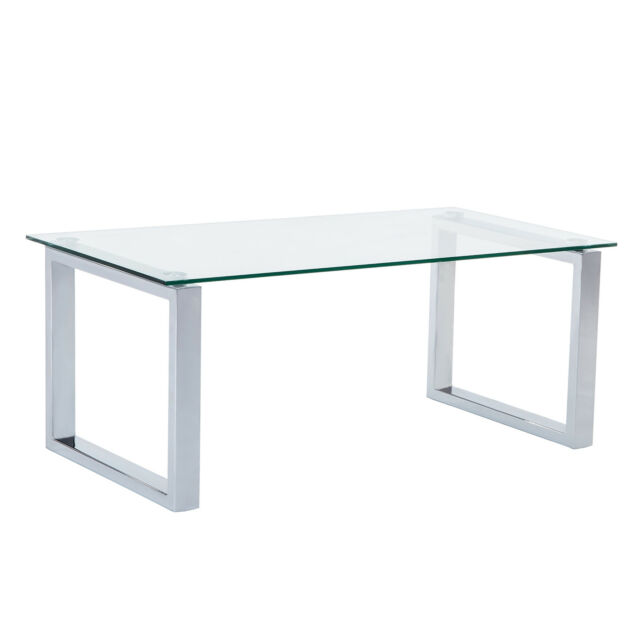 Delicieux Rectangular Glass Coffee Table Side End Stainless Steel Table Living Room