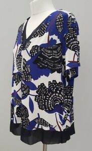 Women-039-s-M-amp-S-Blouse-Top-Floral-Work-Size-18-Black-Blue-White-Summer-Casual-A20