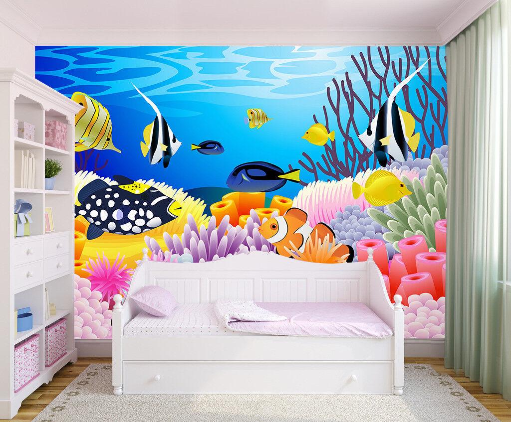 3D Tropische Fisch Koralle 905 Tapete Wandgemälde Tapeten Bild Familie DE Lemon
