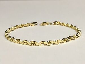 Image Is Loading 18k Solid Yellow Gold Diamond Cut Rope Chain