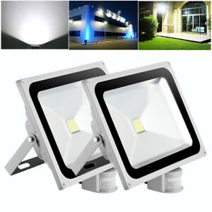 Details About 2x 50w Clic Led Floodlights Pir Motion Garden Outdoor Security Lighting Cool