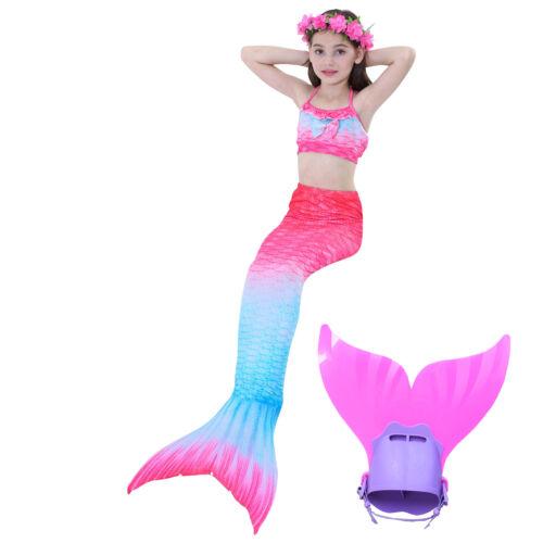 New Girl/'s 3Pcs Mermaid Tail Swimwear Children Clothing Cosplay Bikini Swimsuit