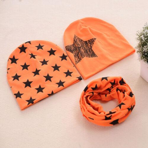 3Pcs//Set Cotton Baby Hat Scarf Star Print Caps Scarves Boy Girls Warm Beanie Set