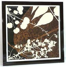 """Soicher Marin Tan & Brown Leaves Giclee Print 35""""Hx35""""W Dark Brown Frame [$625]"""