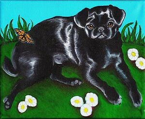 11X14 PUG in Hot Tub Dog Art PRINT of Painting by VERN