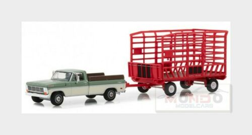 Ford Usa F-100 Pick-Up With Bale Throw Wagon 1969 GREENLIGHT 1:64 GREEN32150A Mo