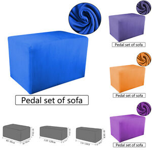 Solid-Color-Stretch-Soft-Ottoman-Slipcover-Sofa-Footstool-Cover-Storage-Protect