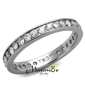 Womens Round Cut AAA Zirconia Eternity Anniversary Wedding Ring Band Size 5-12