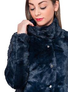 the latest afca3 ba4a4 Details about Pelliccia piumino donna invernale casual blu notte  pellicciotto giacca elegante