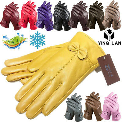 Gloves Womens Genuine Lambskin Leather Solid Winter Warm Driving Soft Lining M