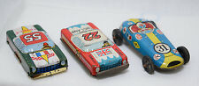 3-Vintage Japan Litho Tin Cars Friction Indy Race Cars Toys France England
