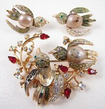 RARE CORO COROCRAFT LOVEBIRDS PIN AND EARRINGS SET - AS IS