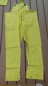 9a0373a2dd4f Rainfair Rain Jacket Pants SZ XL Bibs Hood Yellow PVC Protective ...
