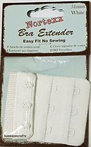 NORTEXX BRA EXTENDER No sew 51mm White 3 Hook Maternity Shrinkage Weight gain