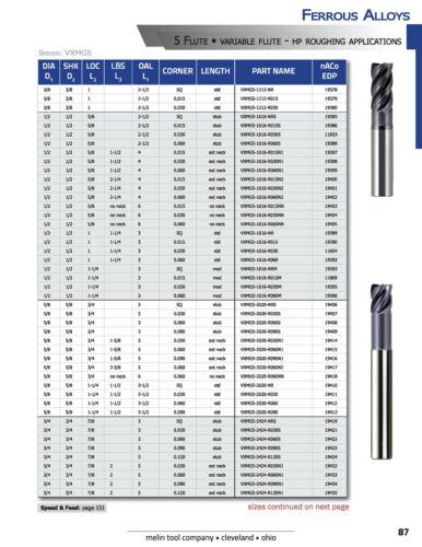 "1//4/""Standard Length 5 Flute nACO VXMG5 Melin Carbide End Mill Sharp Corners"