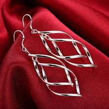 Womens 925 Sterling Silver Twist Spiral Long Drop Dangle Charm Earrings #e27