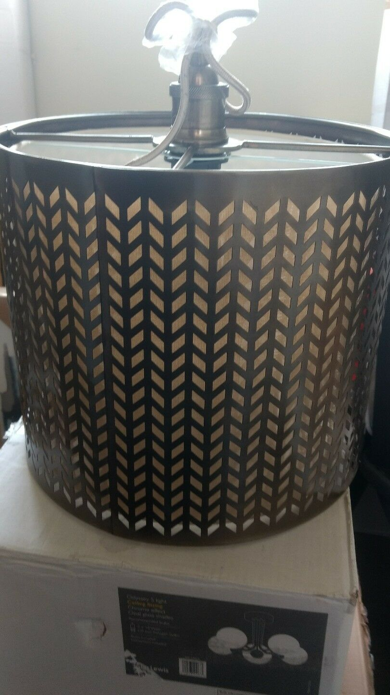 John Lewis Idris Fretwork Shade Pendant Ceiling Light, Brass