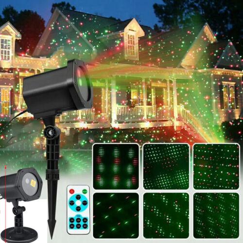 Al aire libre Luces LED Rojo Verde Proyector láser de movimiento de estrella Navidad Jardín Lámpara