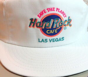 Hard-Rock-Cafe-LAS-VEGAS-White-Baseball-HAT-Neon-HRC-Logo-amp-034-SAVE-THE-PLANET-034