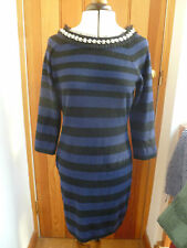 CLEMENTS RIBEIRO CASHMERE AND WOOL BLACK NAVY BLUE STRIPED JUMPER DRESS M BNWT