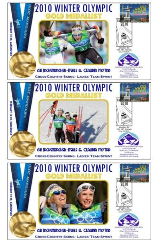 GERMANY 2010 OLYMPIC M CC SKIING SET OF GOLD COVERS