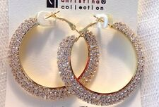 2 INCH HOOP EARRINGS TRIPLE PAVED RHINESTONE CRYSTAL GOLD TONE HOOP EARRINGS