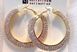 Image Is Loading 2 Inch Hoop Earrings Triple Paved Rhinestone Crystal
