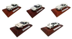 Set of 5 Sports Model Coches 1 43 plateado-BMW Porsche aston martin Stingris