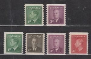 1949-50 #295-6 KG VI POSTE-POSTAGE OMITTED & #297-300  POSTE-POSTAGE COIL SET NH
