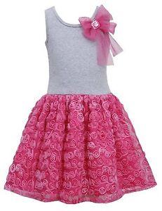 Bonnie-Jean-Girls-Bow-Shoulder-Rosette-Tutu-Easter-Birthday-Pink-Dress-4-5-6-6X