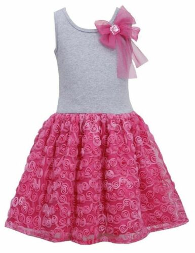 Bonnie Jean Girls Bow Shoulder Rosette Tutu Easter Birthday Pink Dress 4 5 6 6X