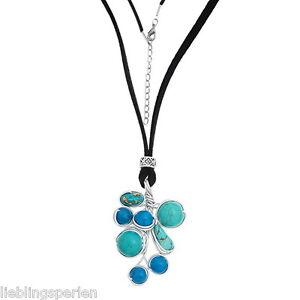 L-P-1-Halskette-Halsschmuck-Blau-Gruen-Tuerkis-Perlen-Anhaenger-Schwarz-73-5cm