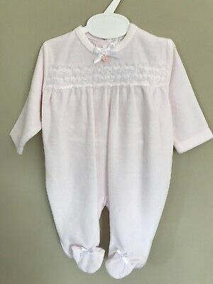 Pretty Baby Girl Babygrow Lace /& Bow Velour Soft 0-9 Months Babyshower Gift