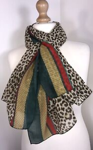 Designer Inspired New Leopard Print Pashmina Striped Border Long Scarf