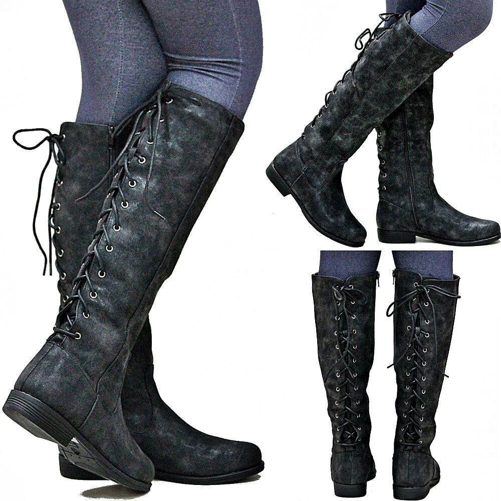 New Women BM24 Lace Up Black Riding Knee High Cowboy Boots Sz 5.5 to 11