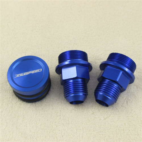 REAR BLUE BREATHER FITTINGS AND PLUG FIT B16 B-16 B18C CATCH CAN M28 TO 10AN