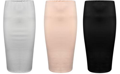 New Ladies Women Plain Scuba Body Con Midi Skirt-New Colours