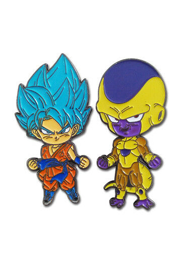 **Legit** Dragon Ball Super SSGSS Goku /& Golden Frieza Authentic Pin Set #50696