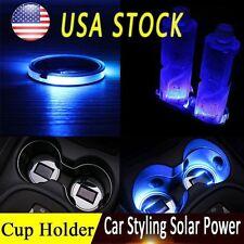 2x Car Solar Cup Holder Bottom Pad LED Light Cover Trim Atmosphere Lamp Lights
