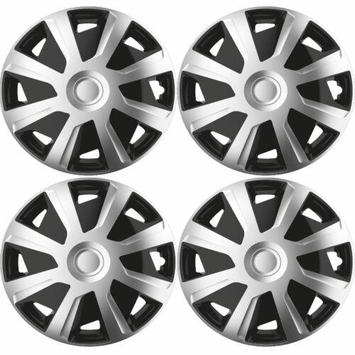 """4x argent//noir 15/"""" pouces Deep Dish Van Enjoliveurs HUB Caps Pour Vauxhall Movano"""