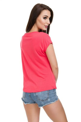 Womens Short Sleeves T-Shirt Loose Fit Printed Top Crew Neck Graphics M-XL FB339
