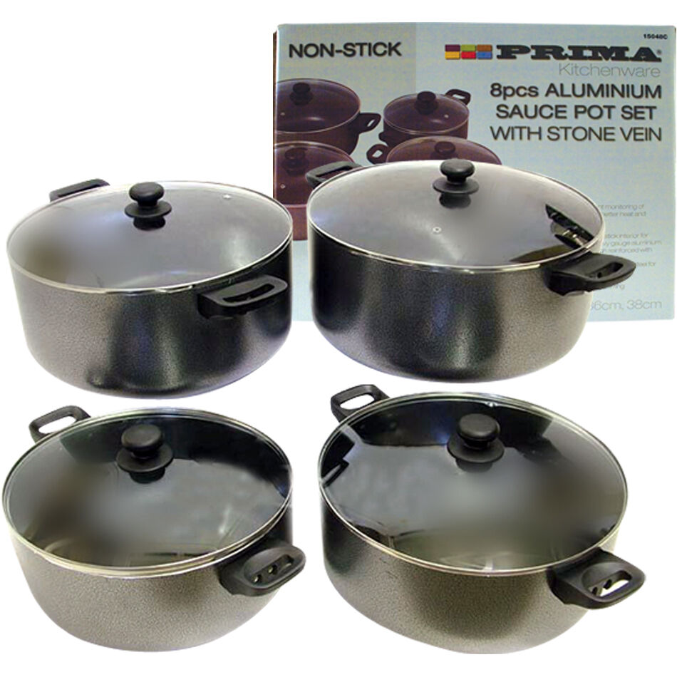 8pc ANTI-ADHERENTE aluminium casseroles Casserole Pot Set Nouveau
